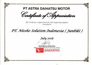 1 Juli 2018 Nissho Mendapatkan Penghargaan Apresiasi