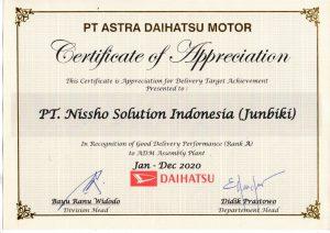 Nissho Mendapatkan Penghargaan Apresiasi